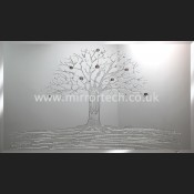MT 89 Silver Glitter Money Tree On Mirror