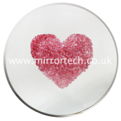 MT414 Abstract Pink Heart Glitter Swarovski Cluster Mirror Art