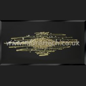 MTB-411 Abstract Champagne Gold Glitter Swarovski Cluster Black Glass Art