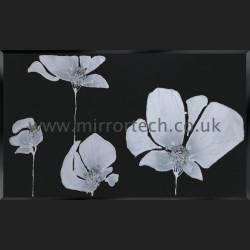 MTB-508 Silver Quad Poppies On Black Glass