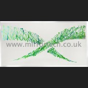 MT 426 Green & Blue Abstract Crystal Cluster Wave Mirror Art